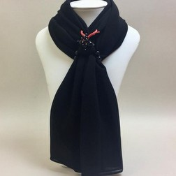 Foulard Chilli e co nero Made in Italy con corallo rosso