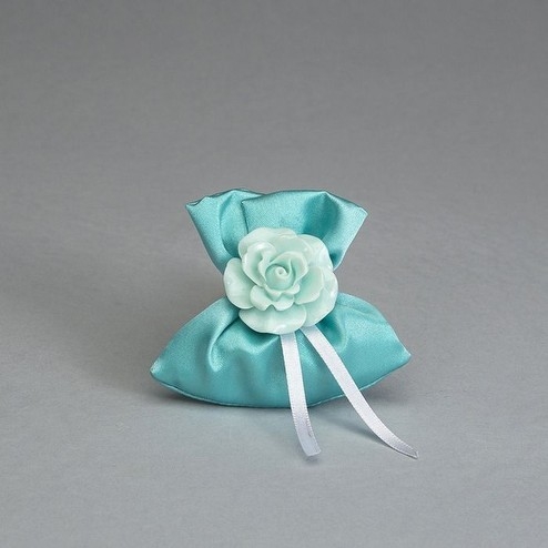 Segnaposto mini sacchetto color verde tiffany in raso con rosa in pvc