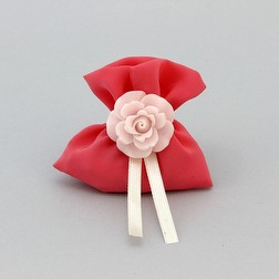 Segnaposto mini sacchetto in georgette color corallo con rosa in pvc
